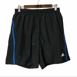 """Adidas Climalite Black & Blue Lined Running Shorts 7"""" L"""
